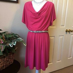 AGB Rose Cowl Neck Cape Sleeve Dress, L